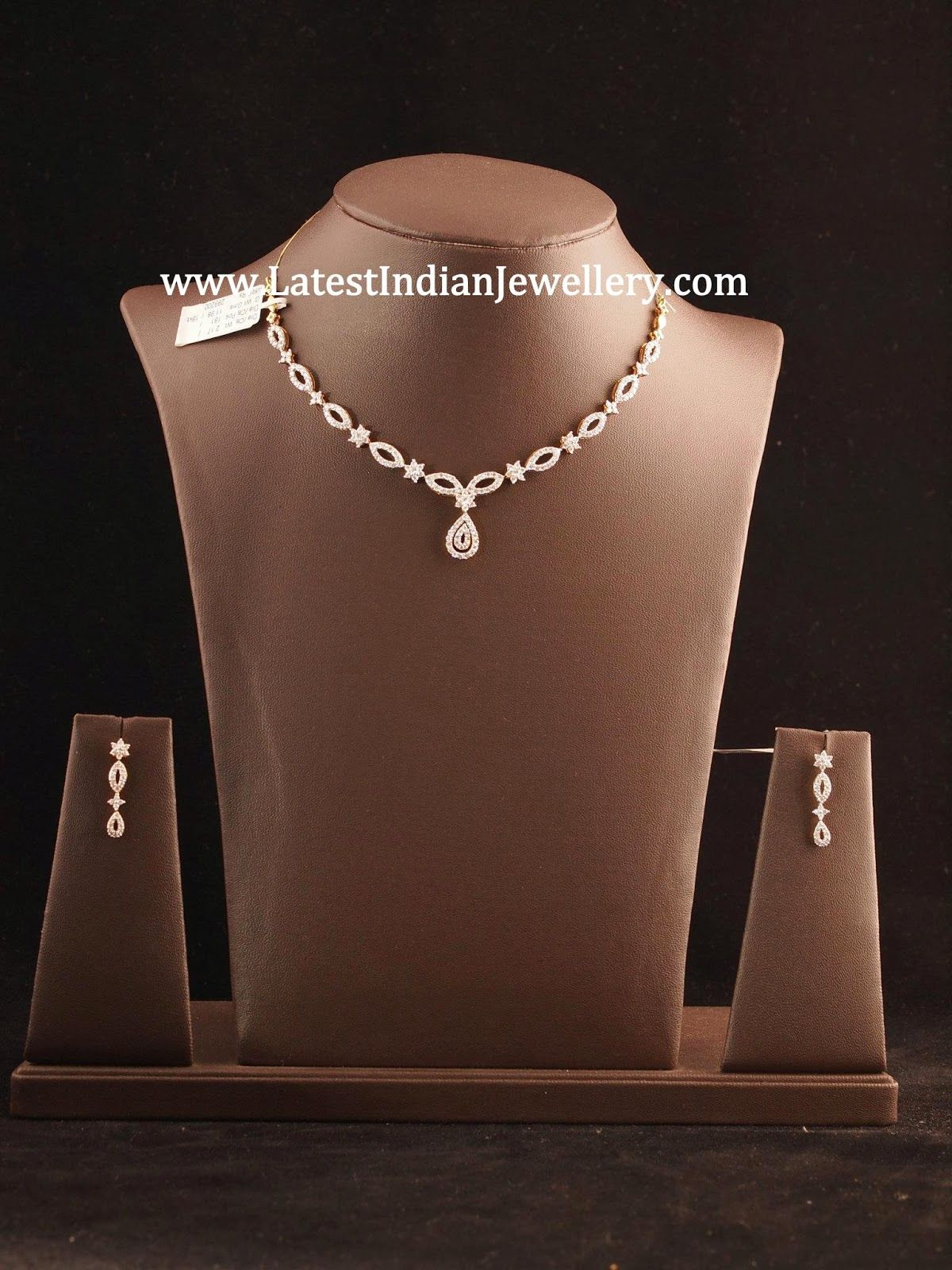 Stylish Simple Diamond Necklace Sets India Jewelry