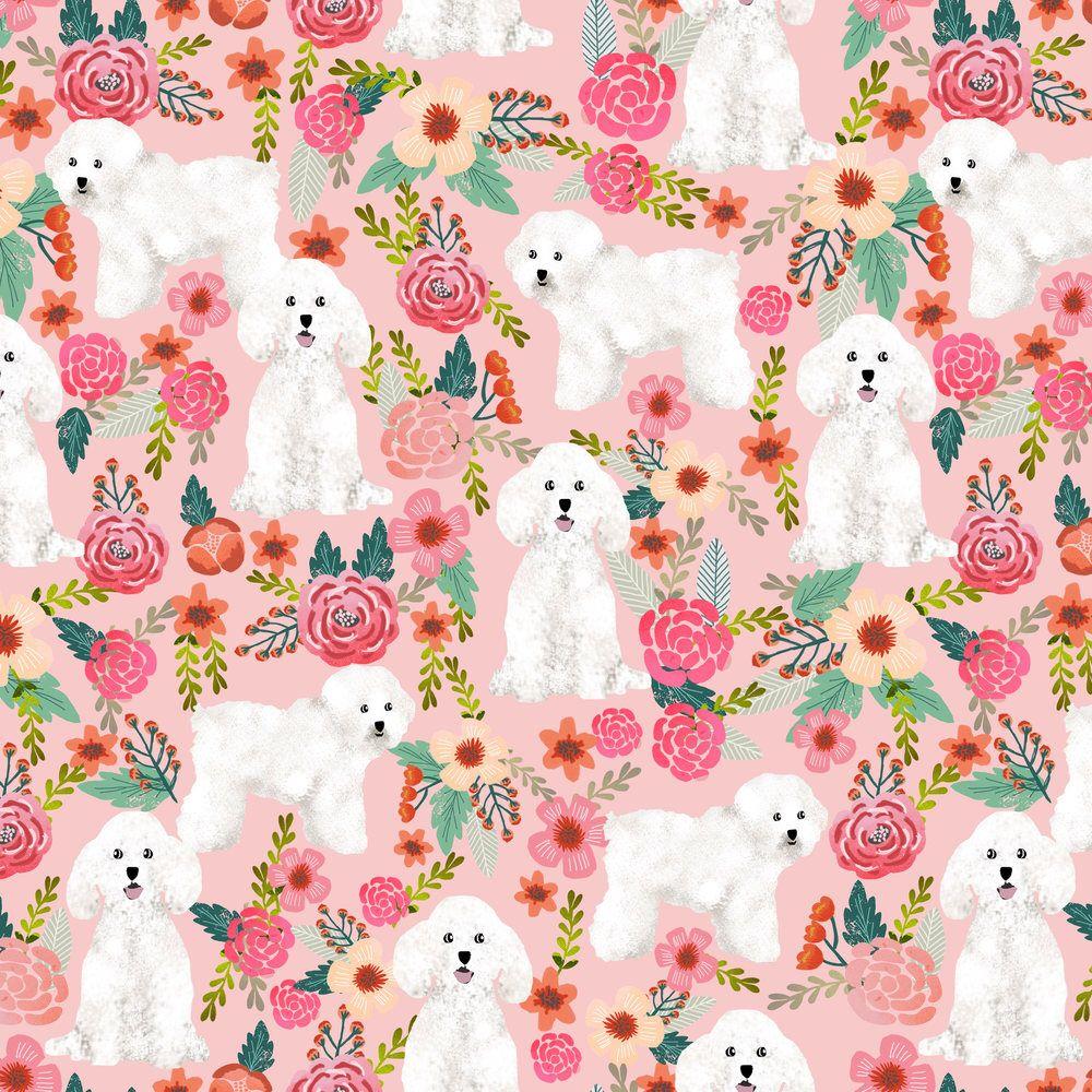 White Bichon Puppy Fabric Bichon Frise Dog Florals Vintage Pink