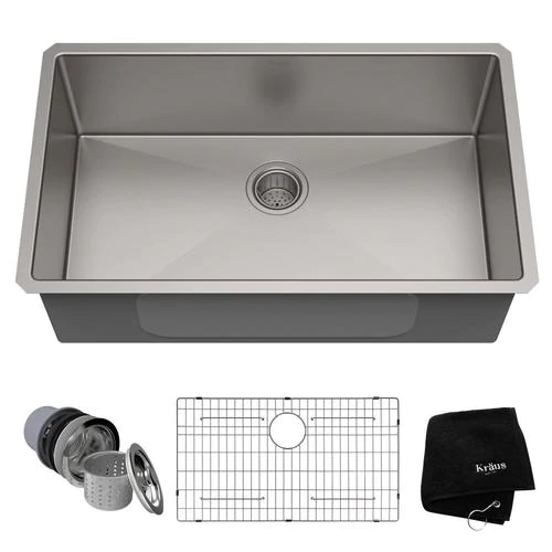 Kraus Handmade 32 In X 19 In Stainless Steel Single Bowl Undermount Commercial Residential Kitchen Sink Lowes Com Stainless Steel Kitchen Sink Sink Stainless Steel Kitchen