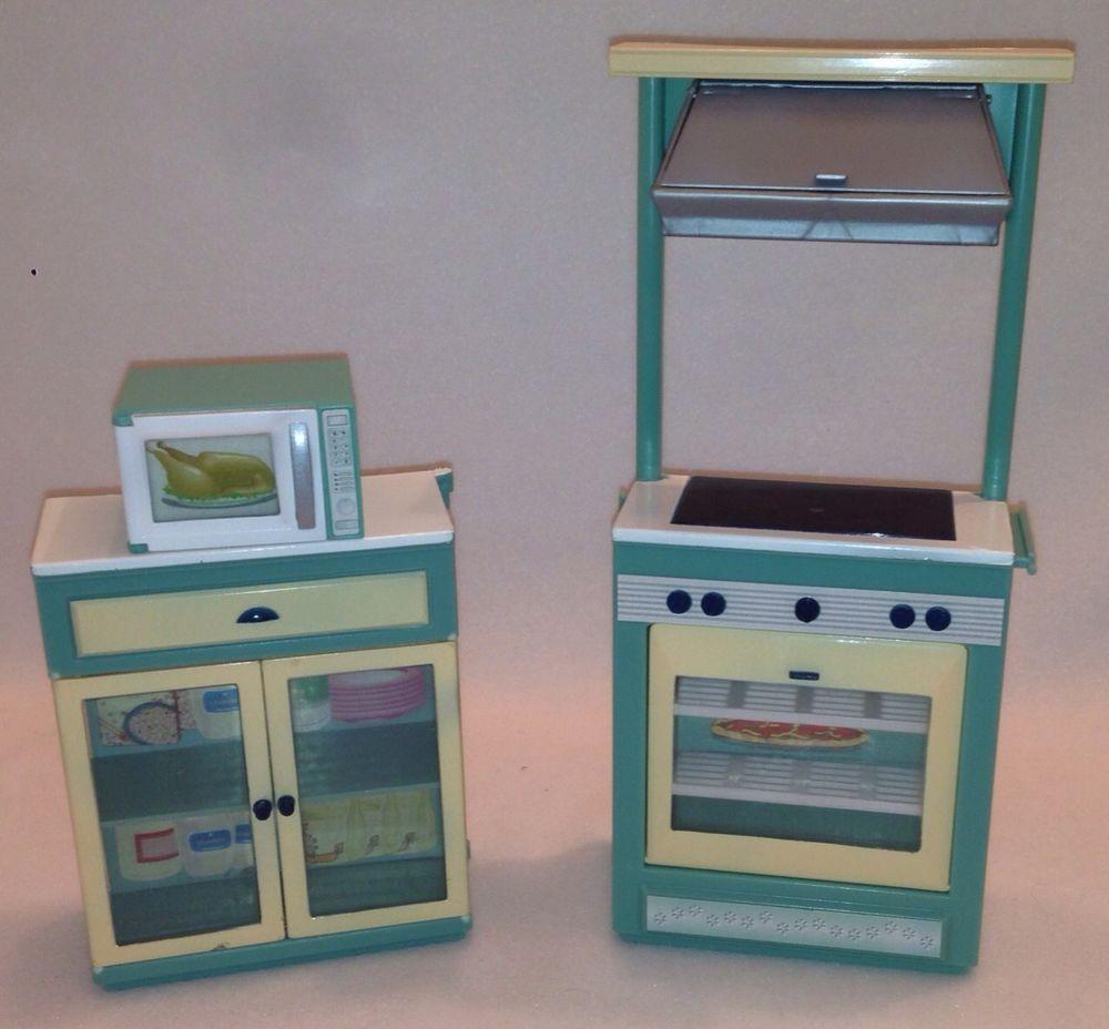 Barbie Microwave Oven: =Goldlok Lot Of 3 Barbie Kitchen Furniture Oven Cabinet