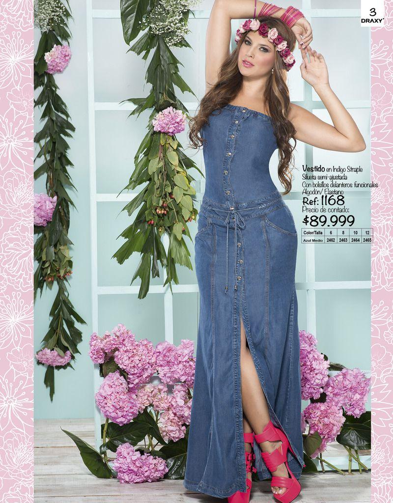 Vestido En Indigo Estraple Venta De Jeans Colombianos