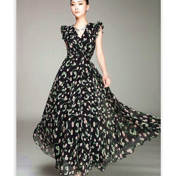 Buy Elegant Cherry Printed V-neck Chiffon Long Dress Black ...