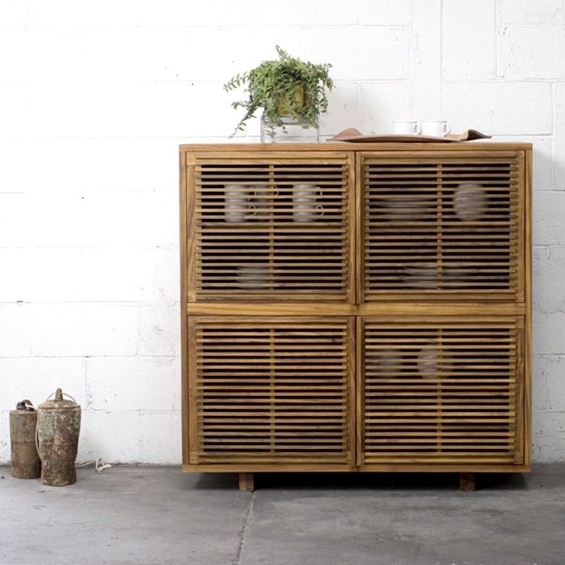 Slatted Teak Bar Or Bar Cabinet With 4 Doors And 4 Inner Shelves Also  Available As Slatted Teak Buffet