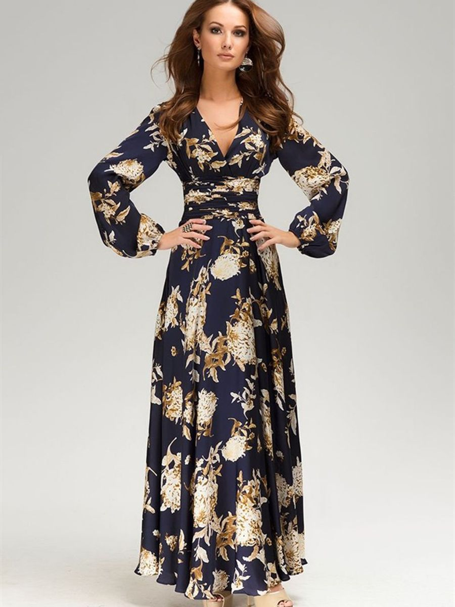 Chic floral imprint v neck womenus maxi dress long dress