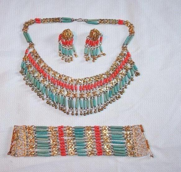 Book Piece Art Deco Egyptian Revival Parure Coral Turquoise Bib Necklace Set