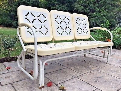 vintage restoration hardware metal rocking glider patio 3 seat furniture chair