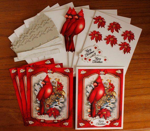 Kit de carte de bricolage, Cartes Cardinal et Poinsettia avec
