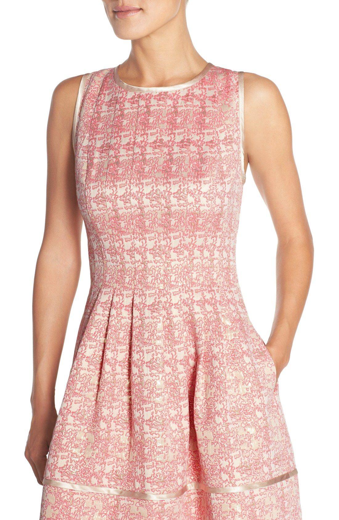 Vince Camuto Metallic Jacquard Fit Flare Dress Nordstrom Fit Flare Dress Dresses Clothes [ 1687 x 1100 Pixel ]