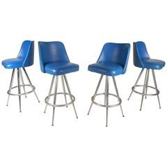 set of four mid century modern swivel bar stools by l b products