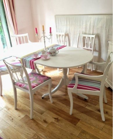 BowieBelle Vintage Upcycled Furniture Stylish Dining Table Six Chairs