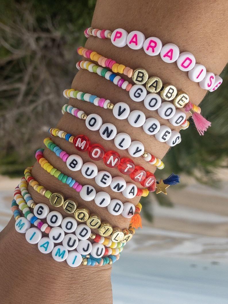 Personalized Bracelet Stretch Bracelet Custom Personalized Multi-Color Letter Bead Bracelet
