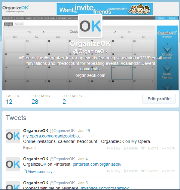 Tweets about free online invitations for your events management: https://twitter.com/OrganizeOK
