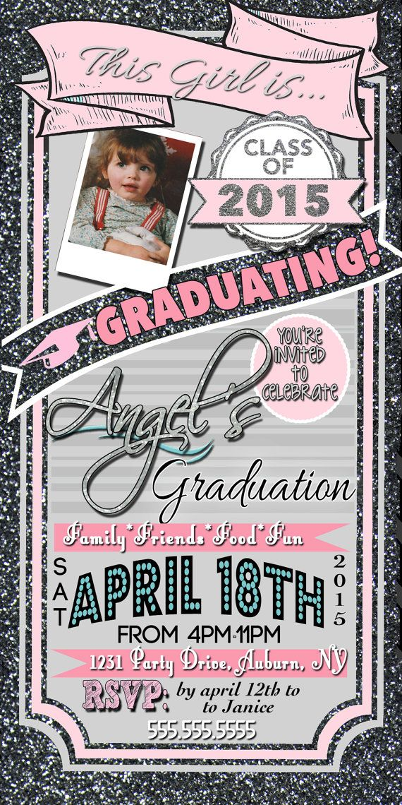Glitter Graduation Invitations modern and by CustomPrintablesNY