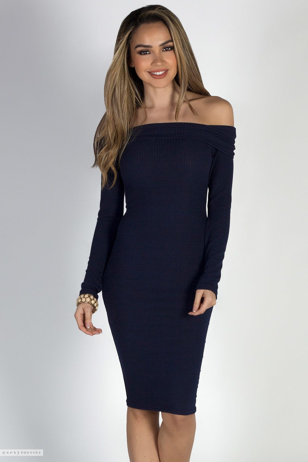 5167eaadf3 Stretchy Ribbed Long Sleeve Midi Dress with Fold Over Off Shoulder Neckline
