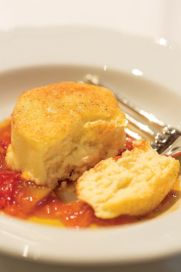 At Montefalco's Terre de la Custodia winery, chef Massimo Infarinati serves fluffy pecorino flans with a simple tomato sauce.