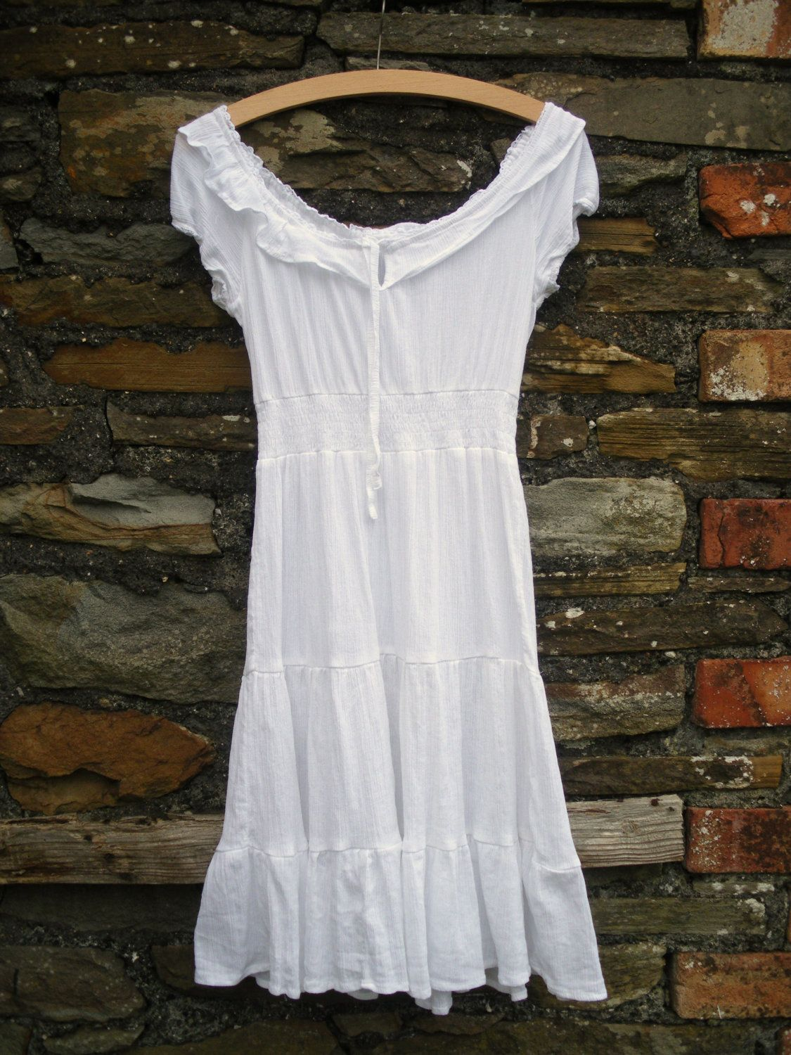 824ac25aba19 Vintage hippie smocked 70s lace cheesecloth gauze cotton crochet tier  Festival GYPSY Bohemian Peasant white Festival summer dress 8 10.  33.00