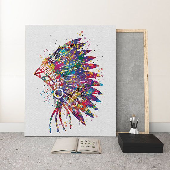 Native American Headdress Watercolor Print Large Wall Art On Canvas Boho Art Wall Decor Nursery Native Native American Decor Native American Headdress Boho Art