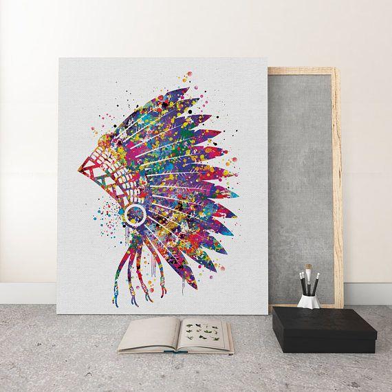 Native American Headdress Watercolor Print Large Wall Art