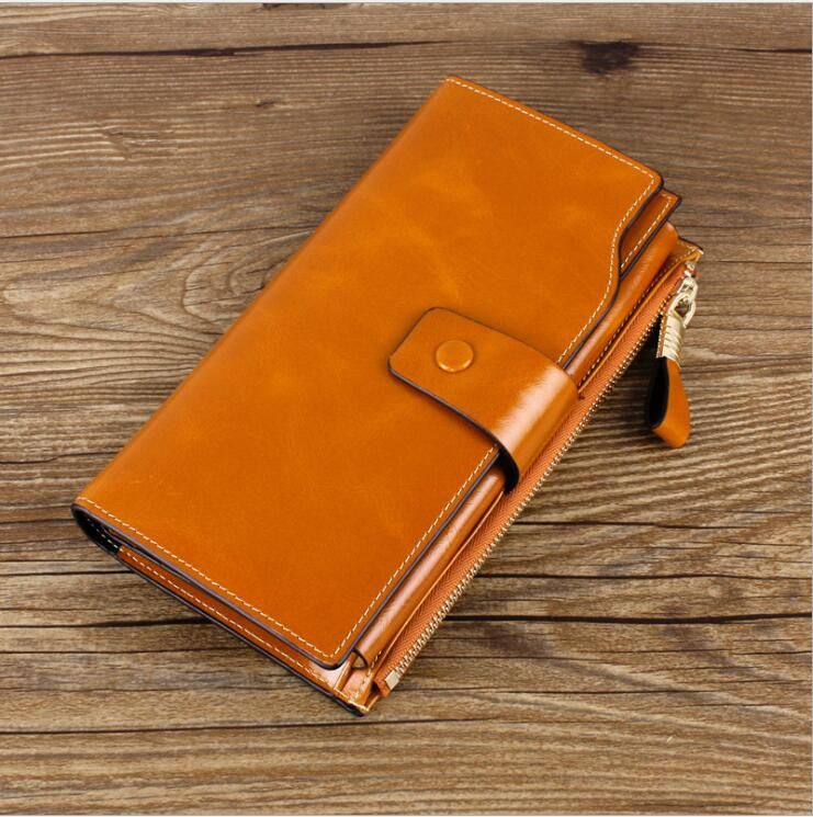Oil Wax Cowhide Leather Women Wallet Phone Pocket Purse Wallet Female Card  Holder Lady Clutch Carteira cd89912c59943