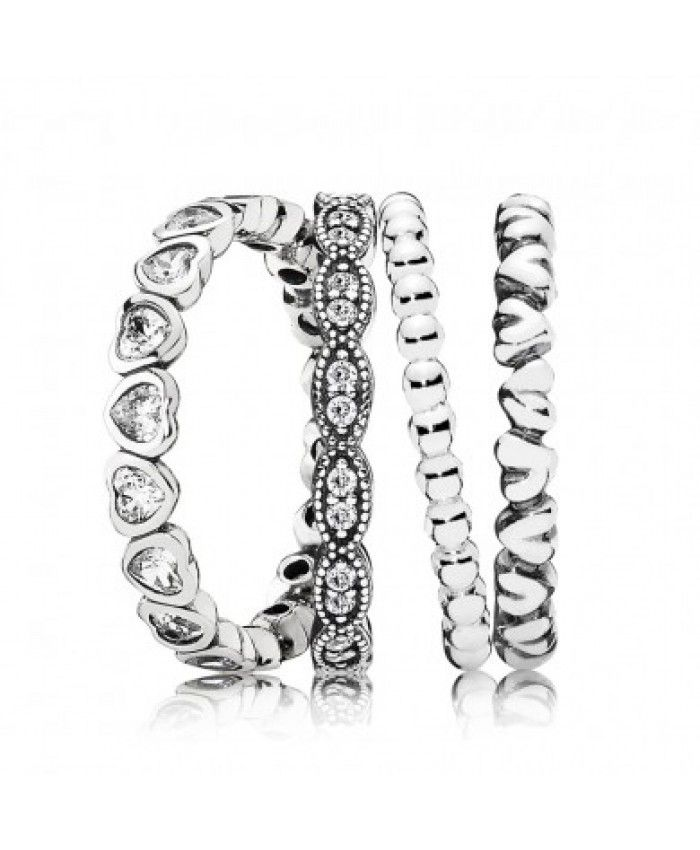 14b07c8dc Best Pandora Hearts of Love Rings Stack Store | Fashion | Jewelry ...