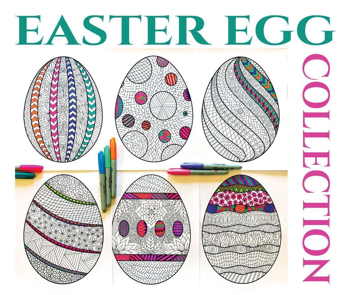 Easter Egg Collection Pdf Zentangle Coloring Pages Osternest Basteln Zentangle Muster Kunststunden