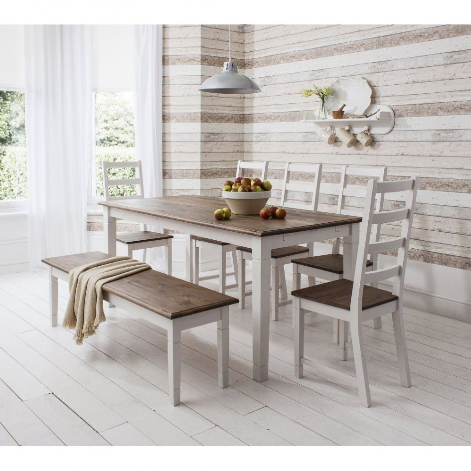 Tables chairs cantebury kitchen table set with bench dark brown tables chairs cantebury kitchen table set with bench dark brown top dining table 5 white wooden dining chairs white beadboard floor rustic watchthetrailerfo