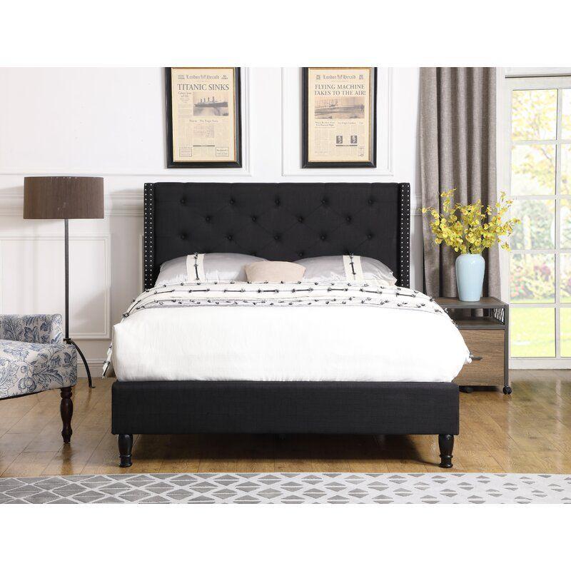 Boswell Upholstered Low Profile Platform Bed In 2020 Upholstered Bed Decor Black Upholstered Bed Black Bedroom Decor