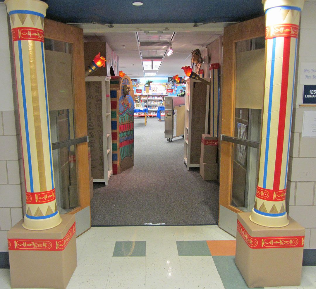 Egyptian Classroom Decor ~ Scholastic book fair tomb entrance kids enter our