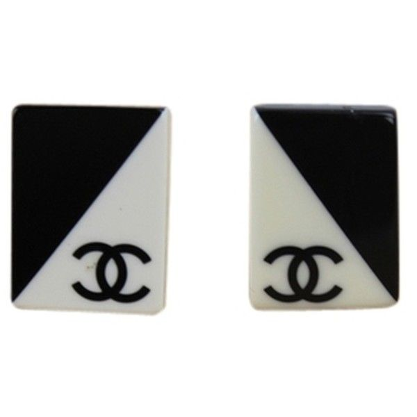 Pre-owned Chanel Black & White Logo Clip On Earrings ($259) ❤ liked on Polyvore featuring jewelry, earrings, accessories, black, preowned jewelry, black white jewelry, white and black earrings, chanel earrings and black white earrings