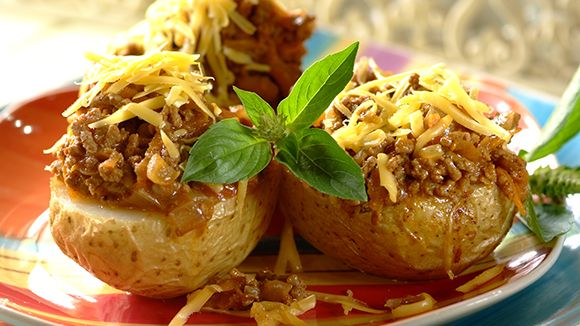 ' Baked jacket potatoes with saucy, savoury mince - the ...