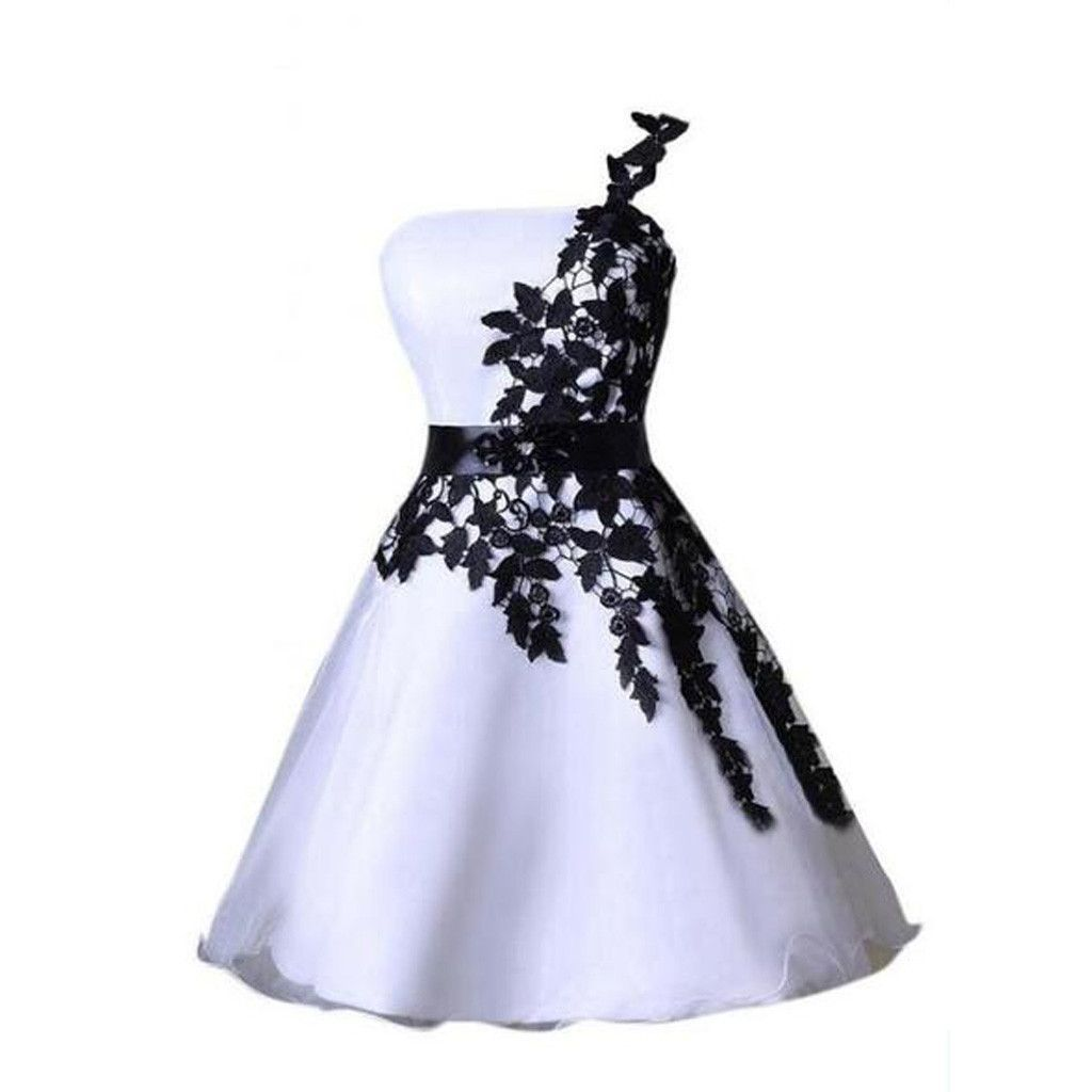 One shoulder black lace cute short homecoming prom dresses cm