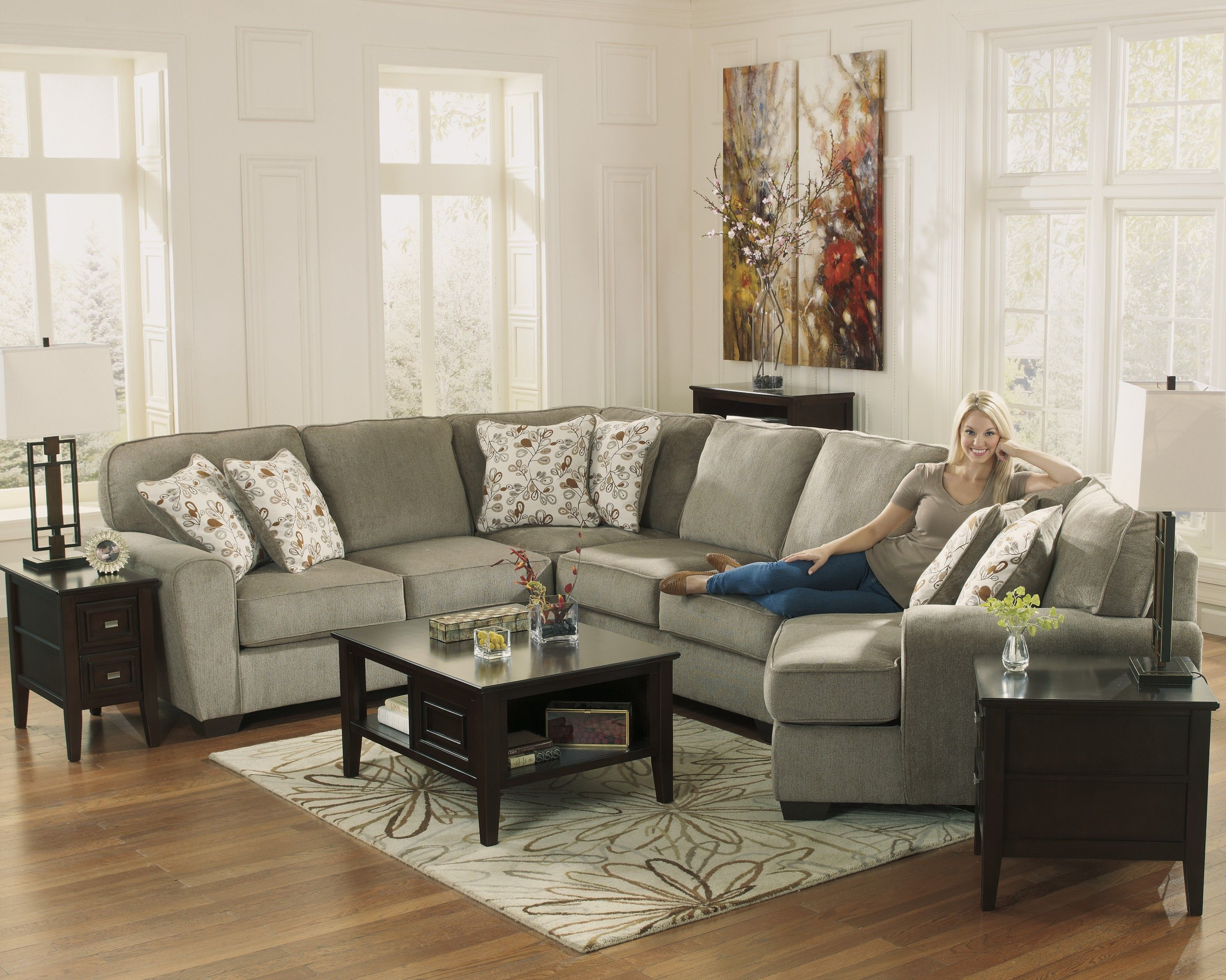 Contemporary Light Brown Sectional with Cuddler Living $1688