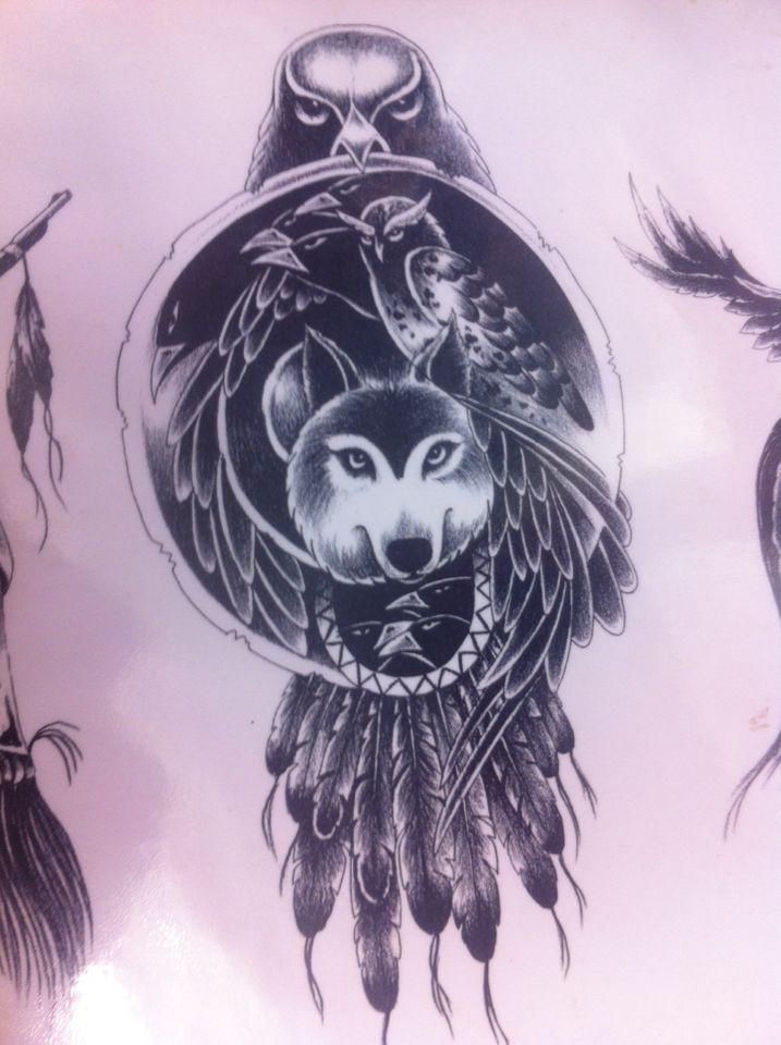 Dreamcatcher Alternative Indian Nativeamerican Wolf Owl Tattoo Traumfanger Tattoo Eule Bussard