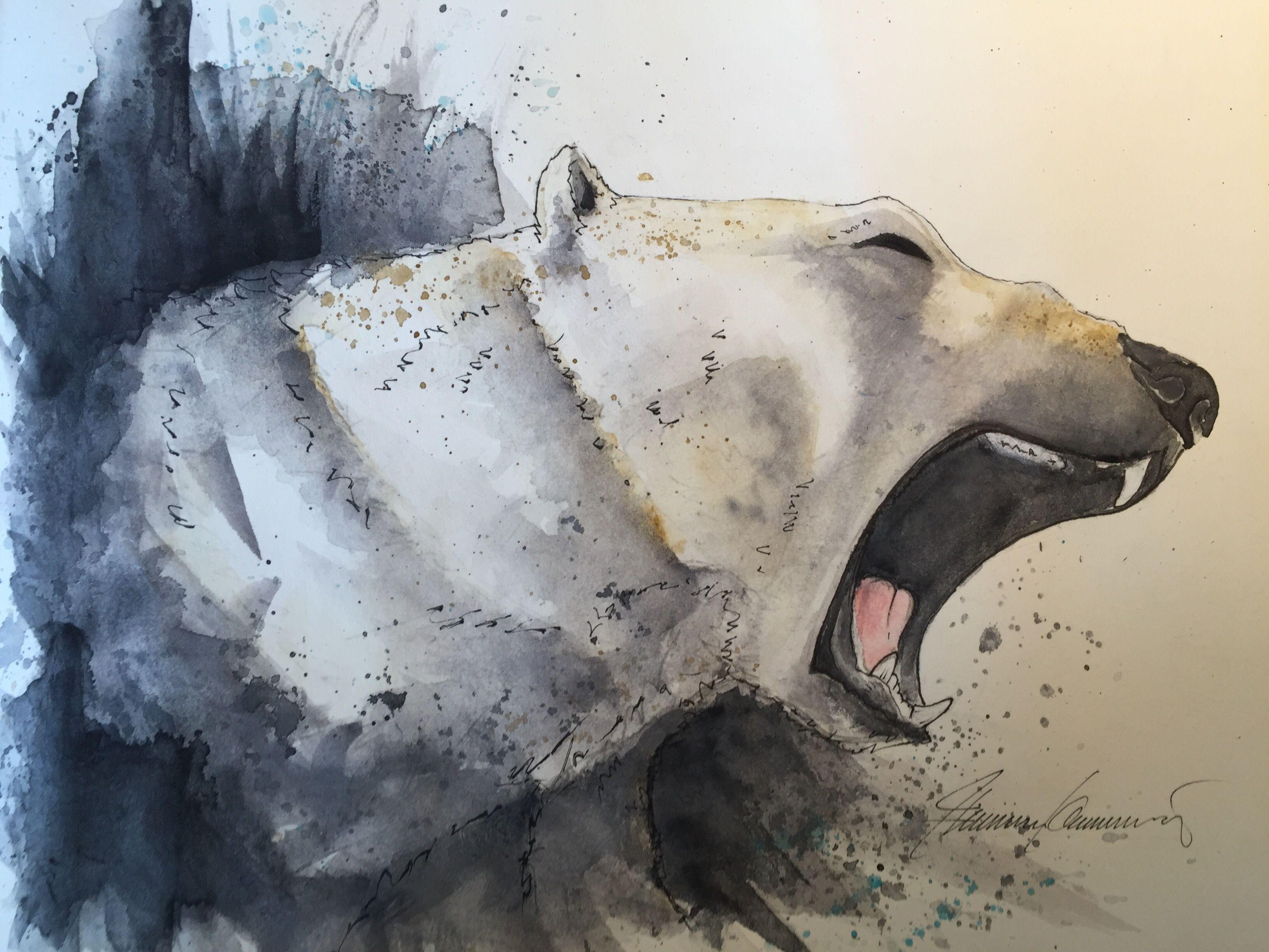Polar Bear, Eisbär, A4, Aquarell, Sketch, Zeichnung | Mindhouse ...