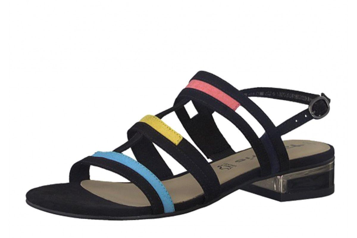 efb5f9caa839 Tamaris 28213 Black Faux Suede Low Heel Multi Strap Sandals