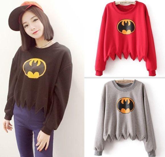 Korean Version Bat Print Sweatshirt