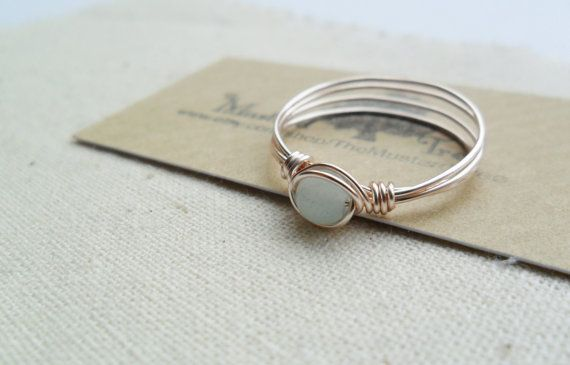 Rose gold blue amazonite gemstone wire wrapped by TheMustardTree