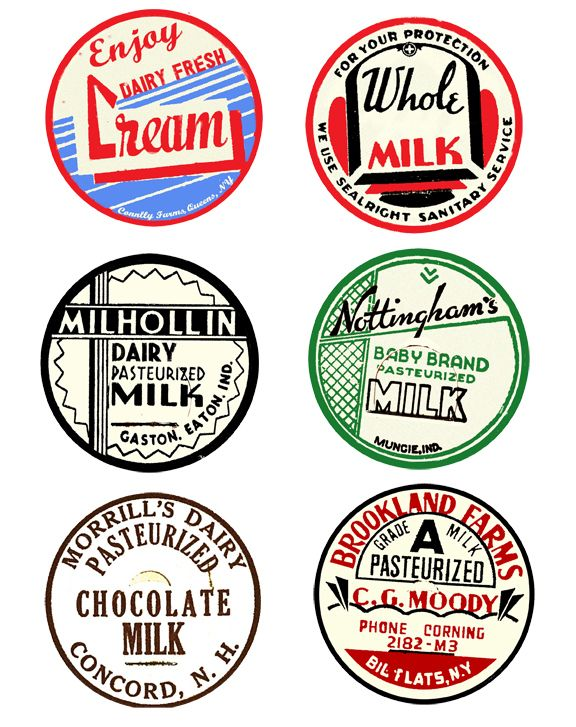 Uwug Project 5 Vintage Milk Bottle Label Wall Art With Free