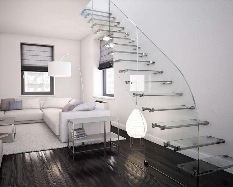 Treppe mit Glasstufen und Befestigung mit Bolzen aus Edelstahl - exklusives treppen design