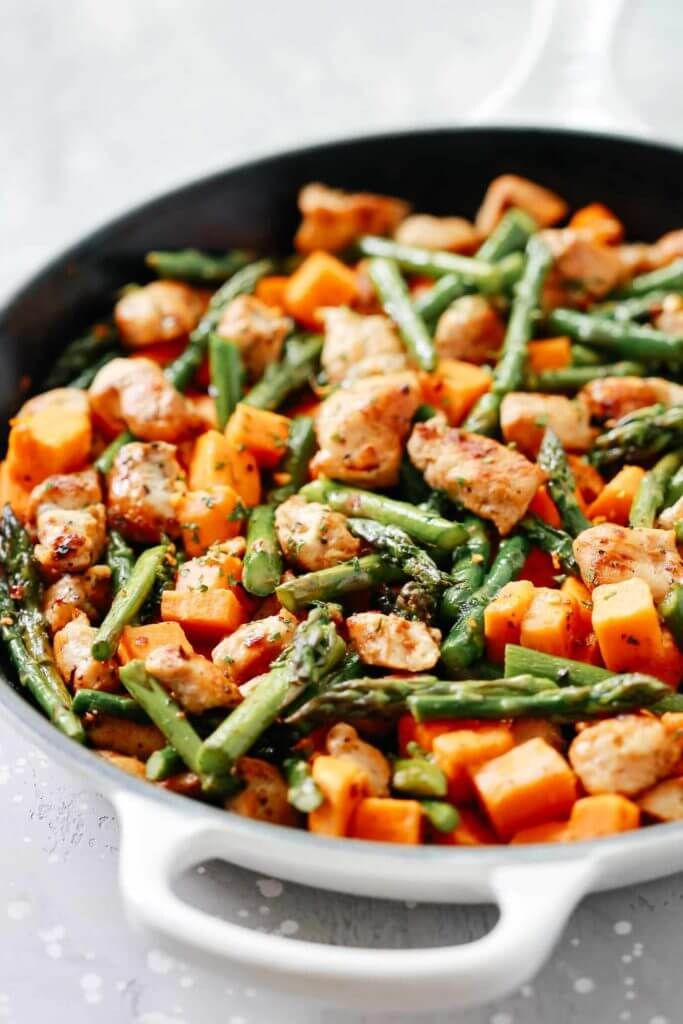 Photo of Asparagus Sweet Potato Chicken Skillet