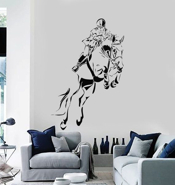 wall vinyl decal jockey horse riding race track guranteed quality