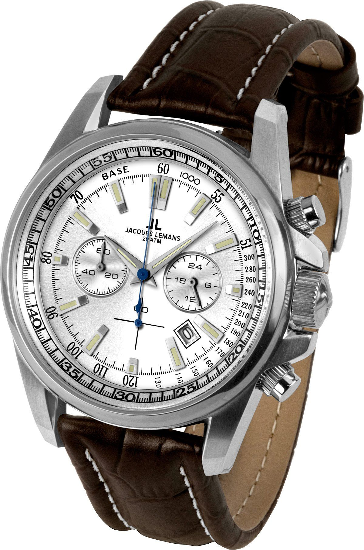 ef85c8571 Jacques Lemans Liverpool 1-1117BN Men's Chronograph Brown Leather Strap  Watch: Amazon.co.uk: Watches