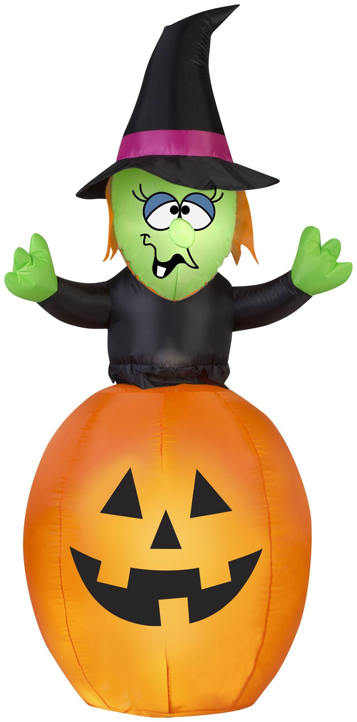 5.5' Airblown Spinning Witch in Pumpkin Halloween