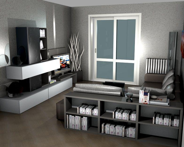 Salotto con divano e mini libreria sermobil living for Salotto con libreria