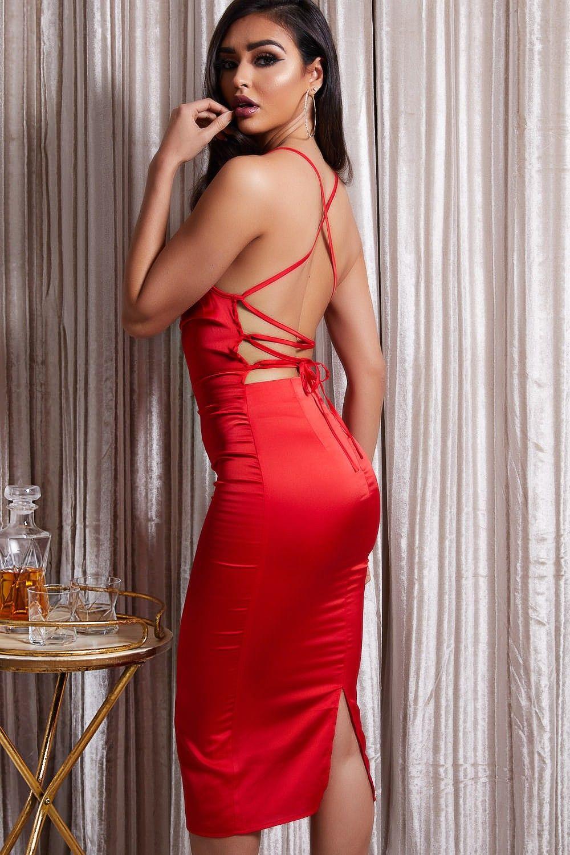 53660b21daa Avril Red Tie Back Satin Midi Dress in 2019