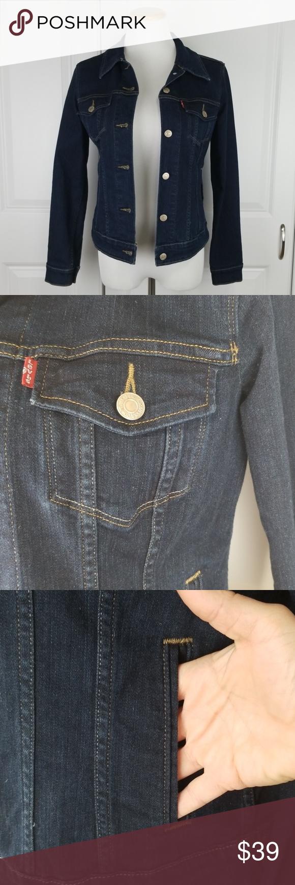 Levi S Dark Denim Jean Jacket Coat Levis Blue Jean Dark Denim Denim Jean Jacket Dark Denim Jeans [ 1740 x 580 Pixel ]
