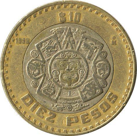 Moneda Mexicana De 10 Pesos Con El Símbolo Del 5to Sol En El Centro Es Nahui Ollin El Quinto Sol Del Nahuat Rare Coins Gold And Silver Coins Coin Collecting
