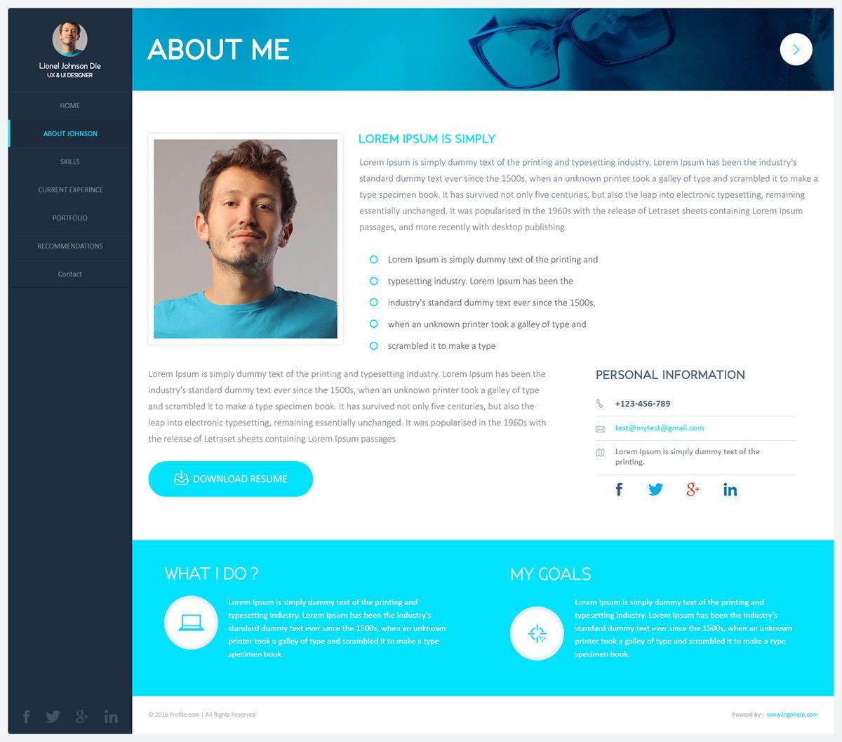 Profile Web Page Design Ui Profile Pinterest Design