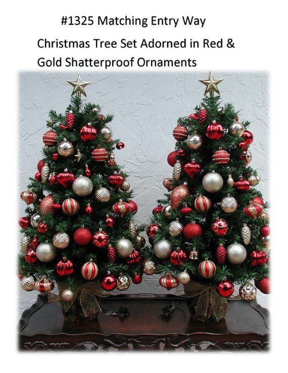 Christmas Tree Set Red And Gold Decor