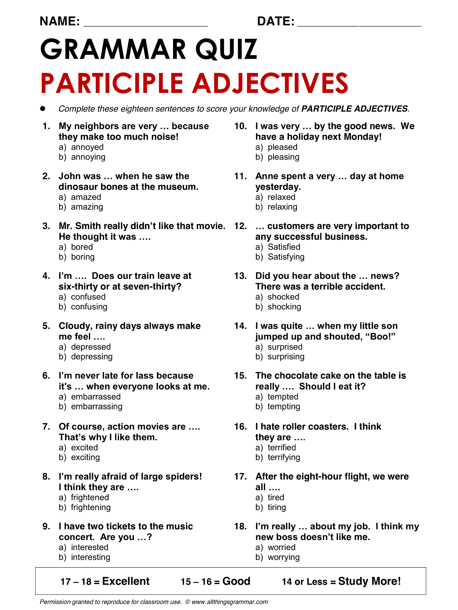 English Grammar Participle Adjectives Lthingsgrammar